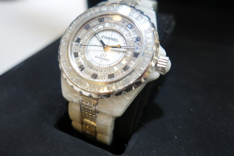 ceramic bezel diamond chanel watch automatic black watches womens